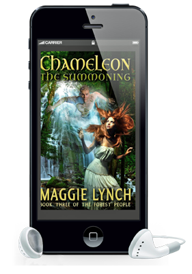 Chameleon: The Summoning audiobook in a cell phone with earbuds