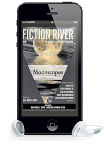 Fiction River Moonscapes anthology pictured within a cell phone with earbuds
