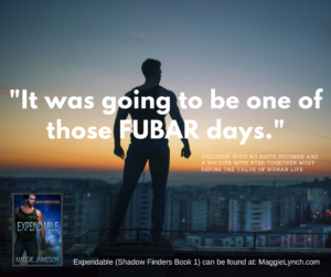 """Man looking across cityscape at sunrise. Quote is: """"It was going to be one of those FUBAR days."""""""
