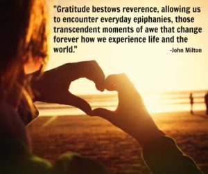 """picture of a persons two hands shaped into a heart. Quote says: """"Gratitude bestows reverence, allowing us to encounter everyday epiphanies, those transcendent moments of awe that change forever how we experience life and the world."""""""