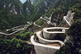 steep, winding road in mountains