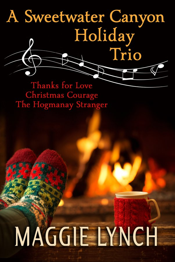cover for A Sweetwater Canyon Holiday Trio by Maggie Lynch. Colorful socks on feet warming by the fire with a mug wrapped in a red knitted cozy