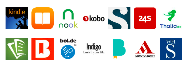 icons of distribution sites, which includes apple, kindle, nook, kobo, tolino, indigo, scribD, bol.de and others