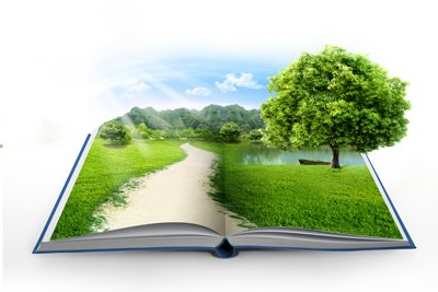 Open book with 3D scene of a tree, a pathway, greenery and a tranquil lake
