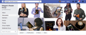 picture of header for private Facebook group. Contains several individuals shown holding or reading one of my books.