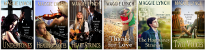 a picture of all the books in the Sweetwater Canyon series: Undertones, Healing Notes, Heart Strings, Thanks for Love, The Hogmanay Stranger, and Two Voices