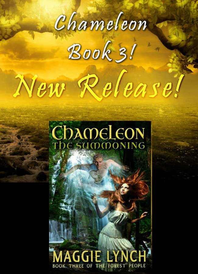Book 3 New Release, Chaemeleon: The Summoning with book cover against sunrise background