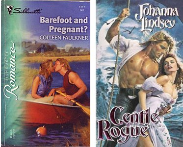 two covers, one depicting a bare-chested pirate (fabio) and a woman in long dress, with sleeves falling off to show tops of breasts and the skirt with a thigh high slit. Other cover with fully dressed couple in a canoe on a lake, despite title of Barefoot and Pregnant?