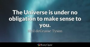 Neil DeGrasse Tyson quote: The universe is under no obligation to make sense to you.
