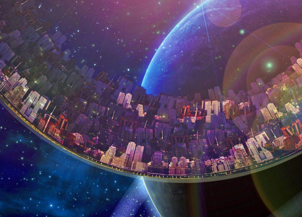 Large interstellar city ship near ringed planet