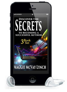 Audiobook shown on phone with earbuds for Secrets to becoming a successful author: 3 book boxset by Maggie Lynch