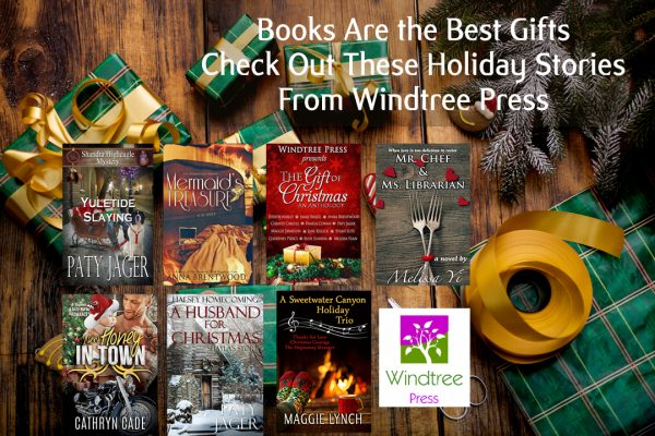 Windtree Press Holiday books pictured among other wrapped gifts. Books are the best gifts. Check out these holiday stories from Windtree Press