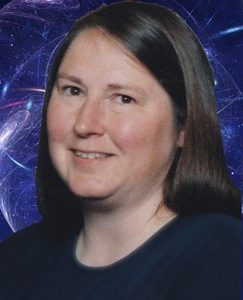 Image of Maggie Lynch with background of outer space galaxy model
