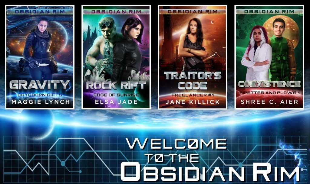 Covers for the first four books in Obsidian Rim series: Gravity, Rock Rift, Traitor's Code, Coexistence