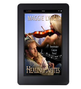 Healing Notes ebook cover inside a tablet