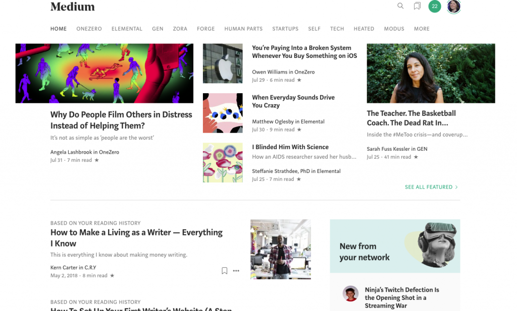 screen shot of Medium home page on aug 2nd 2019