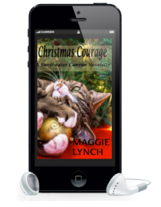 Cover for Christmas Courage inside a phone with earbuds attached