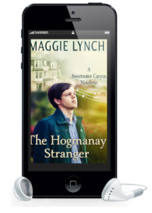 Cover for Hogmanay Stranger inside a phone with earbuds