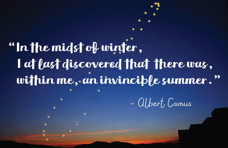 sunset in the desert with stars illustrating the orbit of earth around the sun. Camus quote says: In the midst of winter, I at last discovered there was within me, an invincible summer.