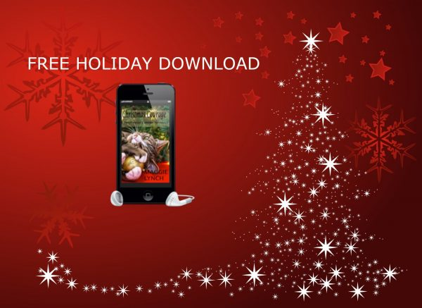 red background with white sparkling lights forming a christmas tree. Free HOliday Download, picture of Chirstmas Courage inside phone with earbuds