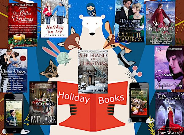 Graphic with a polar bear reading a book and several animals looking on. Pictures of 11 holiday titles