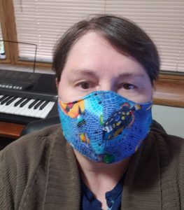 maggie wearing a homemade mask over nose and mouth