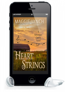 Heart Strings audiobook by Maggie Lynch featured inside a phone with earbuds