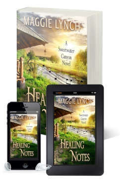 new covers for Healing Notes by Maggie Lynch featured in print book, ebook, and audiobook formats