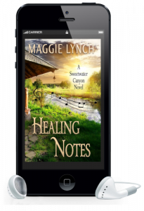 Healing Notes Audiobook by Maggie Lynch featured in phone with earbuds