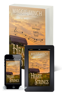 new covers for Heart Strings by Maggie Lynch featured in print book, ebook, and audiobook formats