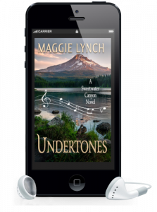 Undertones audiobook by Maggie Lynch shown inside a phone with earbuds