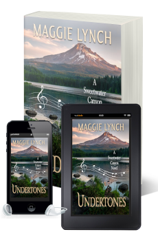 New covers for Undertones by Maggie Lynch pictured in print book, ebook, and audiobook
