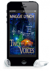 Cover for Two Voices by Maggie Lynch featured inside a phone with earbuds for audio