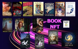 14 NFT book covers displayed on the information highway of Book NFTs available from BooksGoSocial marketplace