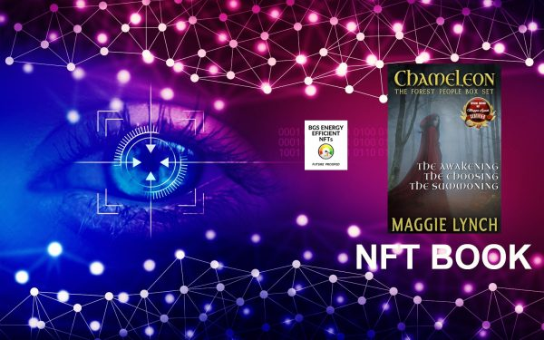 NFT Book, Forest People Trilogy special edition cover featured on background with linked nodes and a human eye looking in