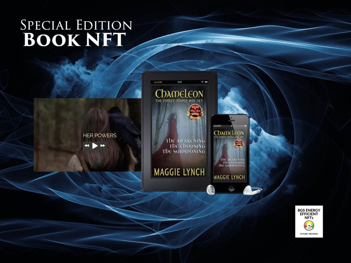 Special Edition NFT ebooks, audiobooks, and book trailer featured in space with cover of Chameleon: The Forest People Trilogy Special Edition