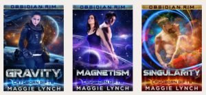 three pictures of the book covers for the Cryoborn Gifts Trilogy, including Gravity, Magnetism, and Singularity